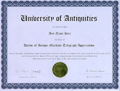 Doctor Antique Maritime Telegraph Appreciation Diploma