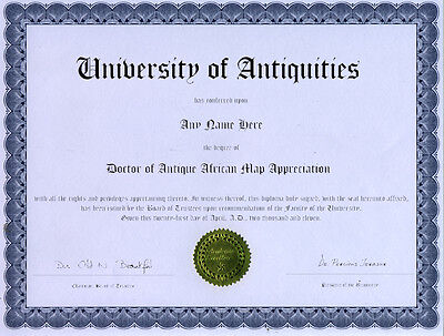 Doctor Antique African Map Appreciation Novelty Diploma
