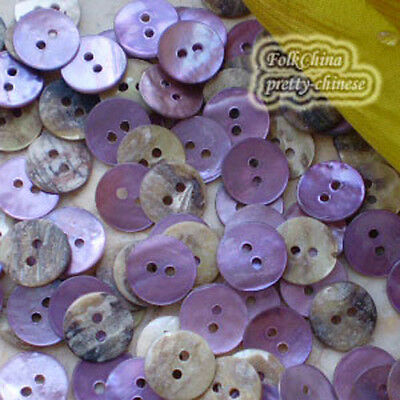 Purple Round 11mm Mother Of Shell Buttons Sewing Scrapbooking Beads Craft