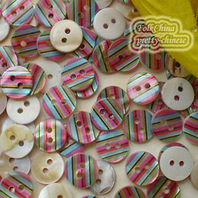 Colourful Stripe 11mm Mother Of Shell Buttons Sewing Scrapbooking Beads SCP632