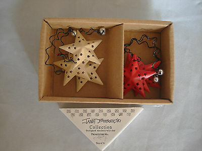 Mini Red & White / ivory STAR ornaments ~ metal w cutouts ~ 6pc NEW small 18240