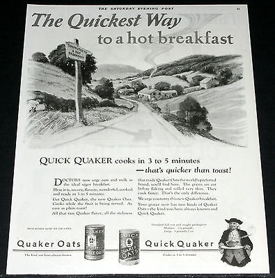 1925 Old Magazine Print Ad, Quaker Oats, 3 Minutes To Hot Breakfast, Stone Art!