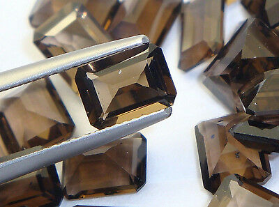 1x  Rauchquarz - Smokeyquarz Octagon facettiert 8x6mm, (SQ057)