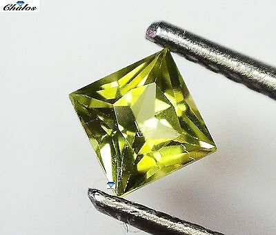 1x Peridot - Princess facettiert 4x4mm, (PE036)