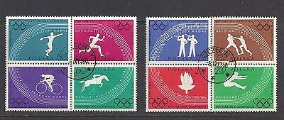 POLAND , 1960 OLYMPICS , SET OF 8 IN 2 BLOCKS OF 4 PERF, FDC , CTO , VLH
