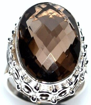 Exquisite Smoky Quartz Gemstone, Rings 925 Sterling SILVER Ring;  L, M, N, P, S