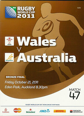 AUSTRALIA v WALES BRONZE FINAL RUGBY WORLD CUP 2011 PROGRAMME MATCH no 47