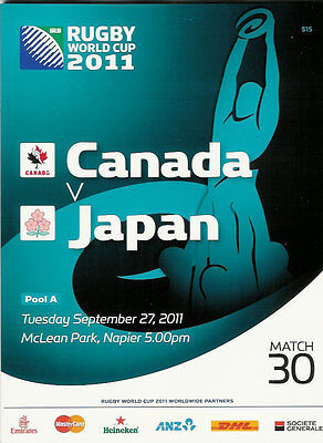 CANADA v JAPAN RUGBY WORLD CUP 2011 PROGRAMME MATCH no 30