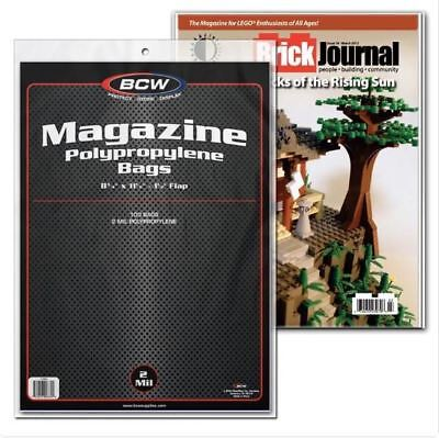 (100) BCW Magazine Storage Bags Acid Free Archival Safe Protection 1.5 Inch Lip
