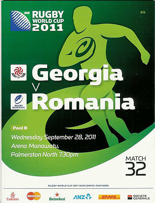 GEORGIA v ROMANIA RUGBY WORLD CUP 2011 PROGRAMME MATCH no 32