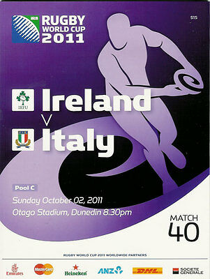 IRELAND v ITALY RUGBY WORLD CUP 2011 PROGRAMME MATCH no 40