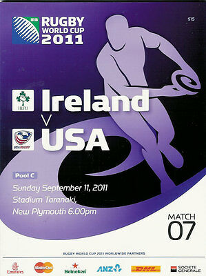 IRELAND v USA RUGBY WORLD CUP 2011 PROGRAMME MATCH no 7
