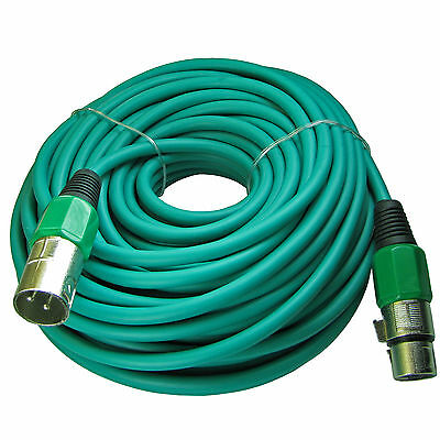 3pin XLR Male to Female mic microphone audio 100 ft foot GREEN extension cable