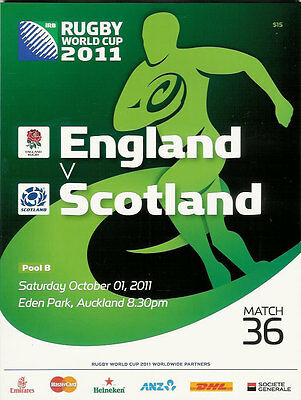 ENGLAND v SCOTLAND RUGBY WORLD CUP 2011 PROGRAMME MATCH no 36