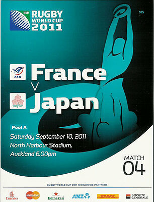 FRANCE v JAPAN RUGBY WORLD CUP 2011 PROGRAMME MATCH no 4
