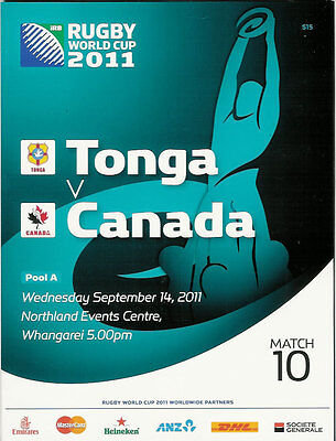 TONGA v CANADA RUGBY WORLD CUP 2011 PROGRAMME MATCH no 10