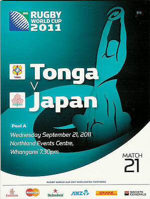 TONGA v JAPAN RUGBY WORLD CUP 2011 PROGRAMME MATCH no 21