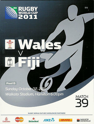 WALES v FIJI RUGBY WORLD CUP 2011 PROGRAMME MATCH no 39
