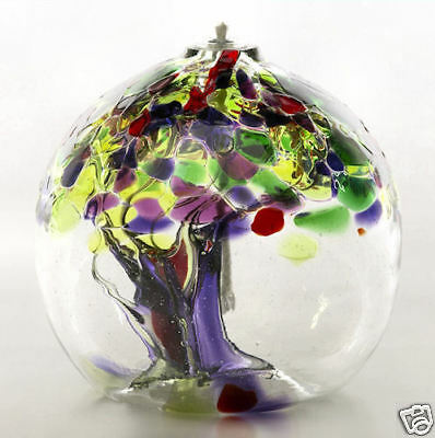 Kitras Art Glass -TREE OF ENCHANTMENT - LIFE - Hand Blown Glass Oil Lamp 6""