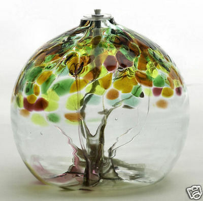 """Kitras Art Glass -TREE OF ENCHANTMENT - SISTERS - Hand Blown Glass Oil Lamp 6"""""""