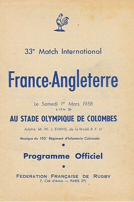FRANCE v ENGLAND 1 March 1958 at Paris RUGBY PROGRAMME