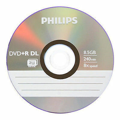 New 5 Philips 8X Dual Layer DVD+R DL Blank Discs 8.5Gb Disc in Sleaves