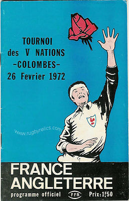 FRANCE v ENGLAND 26 Feb 1972 at Paris RUGBY PROGRAMME