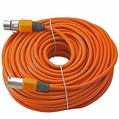 100 ft foot XLR 3pin Male to Female ORANGE mic microphone extension cable cord
