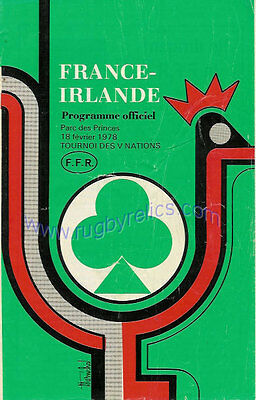 FRANCE v IRELAND 18 Feb 1978 at Paris RUGBY PROGRAMME