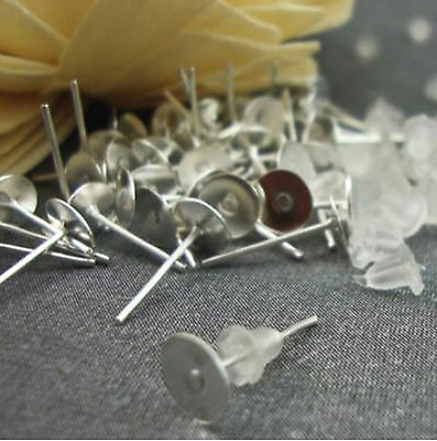 100 6mm Flat Pad Silver Plated Ear Posts + Backs Stoppers Earring Findings