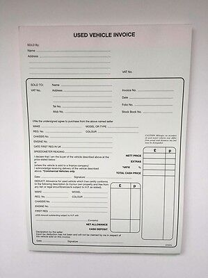 used car vehicle sales invoice pad receipt buying selling cars x