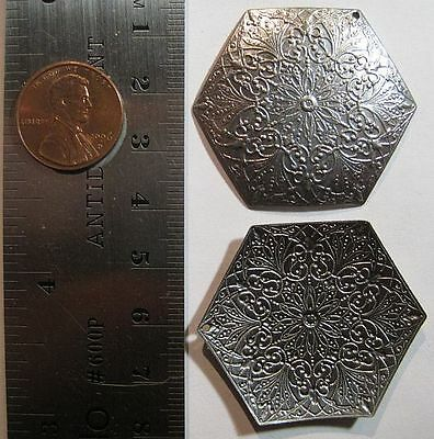 VINTAGE ANTIQUE GOLD 35mm Fancy Victorian Hexagon w/ Top Hole Stamping - 4pcs