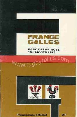 FRANCE v WALES 18 Jan 1975 at Paris RUGBY PROGRAMME