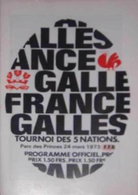 FRANCE v WALES 24 Mar 1973 at Paris RUGBY PROGRAMME