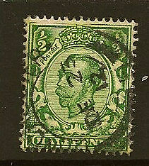 """GB : Downey Head 1912 Die 2 1/2d  yellow-green Crown SG 340a """"No Cross on Crown'"""