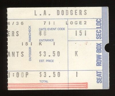 1975 LA Dodgers vs SF Giants Baseball July 11 Ticket Stub NM