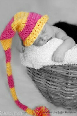Crochet Baby Yellow And Pink Long Tail Elf Hat - Yellow Duckie Hat Photo Prop