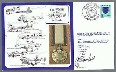 1986 Award of CONSPICUOS GALLANTRY MEDAL Silk Cover with Inserts - 3 Scans