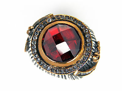 Antique Look Hand Made Ruby Red Sterling Silver Women's Ring