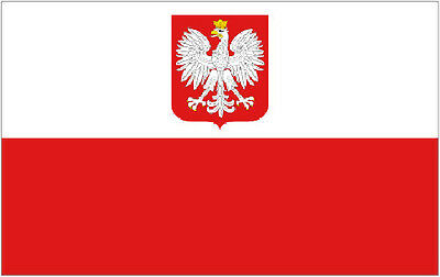 POLAND EAGLE FLAG 3' x 2' Polish State Crest Flags Europe