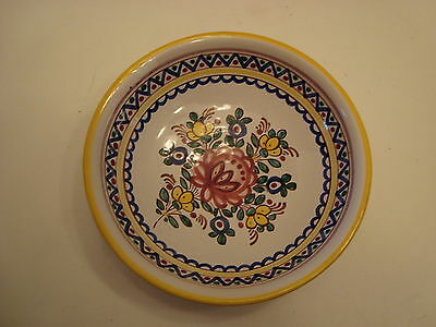 Hand Painted Pottery Bowl Made in Portugal with Wire Hanger