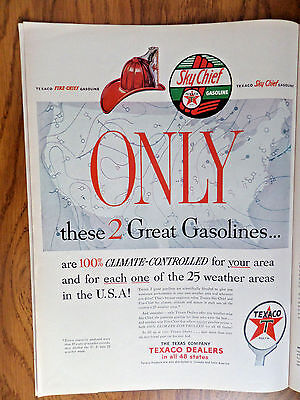 1953 Texaco Sky Chief Gasoline Ad  These 2 Great Gasolines