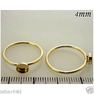 4mm Round 14K Gold Filled Bezel Cups on Ring 7.5 size