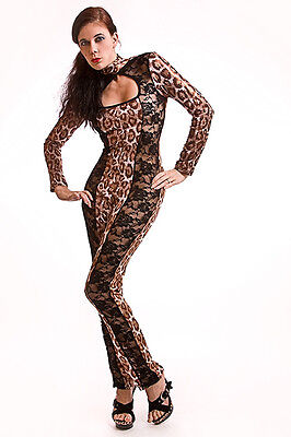 Catsuit Overall Gothic  Lack/Latex look in Leopard mit Spitze