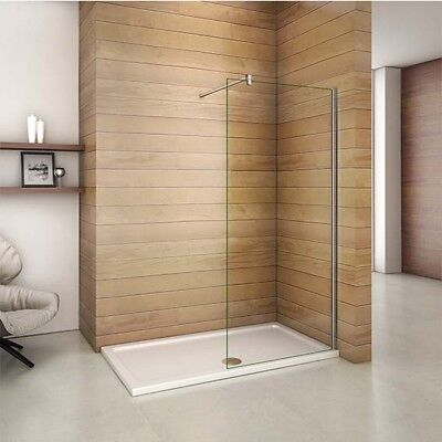 1700x800mm Walk In Wet Room Shower Enclosure Glass Screen Stone Tray Easyclean