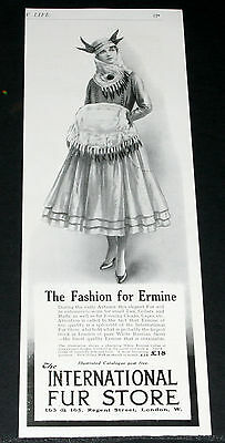 1916 Old Wwi Magazine Print Ad, Intl Fur, White Ermine Collar, Muff Fashion Art!