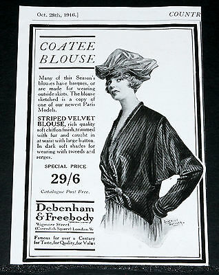 1916 Old Wwi Magazine Print Ad, Debenham & Freebody, Coatee Blouse, Fashion Art!
