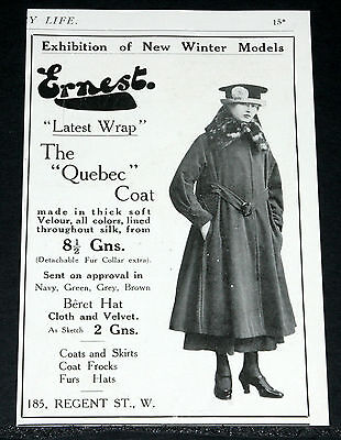 "1916 Old Wwi Magazine Print Ad, Ernest Ltd, ""the Quebec Coat"" Latest Wrap!"