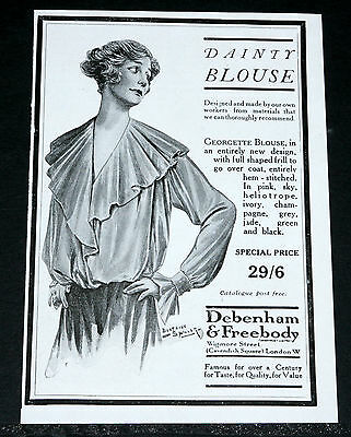 1916 Old Wwi Magazine Print Ad, Debenham & Freebody, Dainty Blouse, Fashion Art!