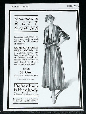 1916 Old Wwi Magazine Print Ad, Debenham & Freebody, Rest Gowns, Fashion Art!